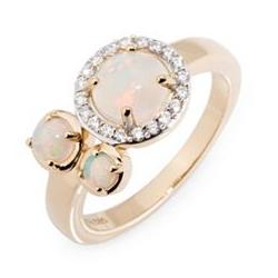 Afrikanischer Opal Ring ca. 1,22ct 20 Brillanten 0,18ct Gold 585