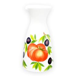 Lashuma Wasserkaraffe Tomate Olive, Große Weinkaraffe, Keramikkrug 23x12 cm