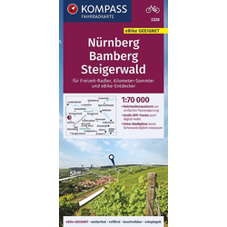 KOMPASS Fahrradkarte Nürnberg Bamberg Steigerwald 1:70.000 FK 3328