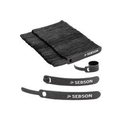 SEBSON Kabelbinder Klett Kabelbinder wiederverschließbar 100er Set - 12mm Breite; 100mm Länge - Klettband mit Schlaufe schwarz, variabel verschließbar