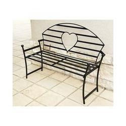 Dandibo - Gartenbank mit Herz aus Metall Schwarz Bank 122 cm Sitzbank 80006 Baumbank Garte