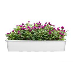 BigDean Blumenkasten für den Balkon − 2x Balkonkasten 80 cm Weiß (2 Stück) weiß 80 cm