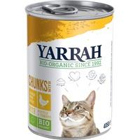 Yarrah x 405 g | Yarrah | Bio-Bröckchen mit Huhn, Brennnessel & Tomate | Nassfutter | Katze