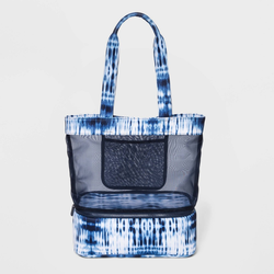 Magnetic Closure Tie-Dye Mesh Tote Handbag - Shade & Shore Blue/Tie Dye Design