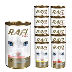 60 x 415g Rafi Cat Dosen Mix Fisch + Geflügel + Rind Nassfutter Katzenfutter