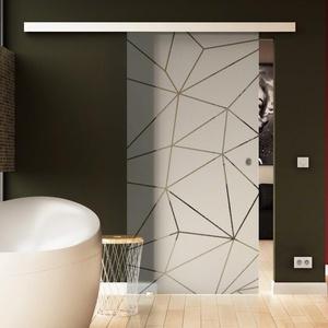 Glasschiebetür 205x90 cm Dessin: Origami Levidor® EasySlide-System komplett Laufschiene und Muschelgriffe Schiebetür aus Glas für Innenbereich ESG Sicherheitsglas Echtglas
