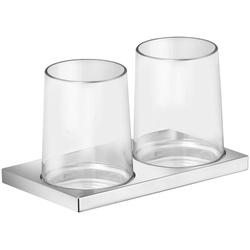Keuco Zahnputzbecher Edition 11, (2-St), mit 2 Echtkristall-Gläsern, Halterung verchromt