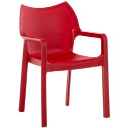 CLP Gartenstuhl Diva, Kunststoff-Gartenstuhl mit Armlehnen rot