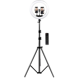 Somikon Fotolicht: XL-LED-Ringlicht mit Smartphone-Halter, Ø 46 cm, USB-Port, dimmbar (Ringlicht mit Stativ)