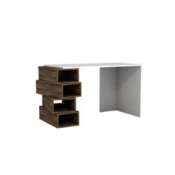 moebel17 Schreibtisch Schreibtisch Jenga Weiß Walnuss