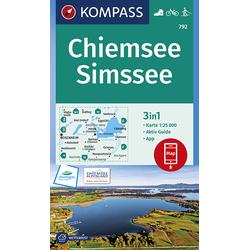 KOMPASS Wanderkarte Chiemsee Simssee 1:25 000