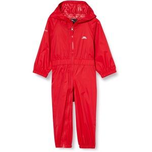 Trespass Kinder Button Wasserdichter Regenanzug mit Kapuze, rot, 3-4 Jahre