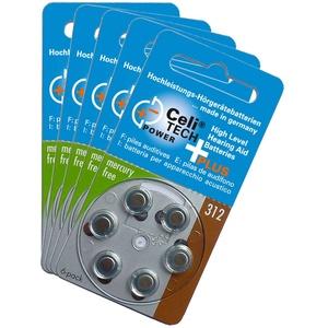 30 x Celitech Plus Hörgerätebatterien Größe 312 / BRAUN