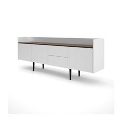 ebuy24 Sideboard Una Sideboard 3 Türen und 2 Schubladen weiss und W