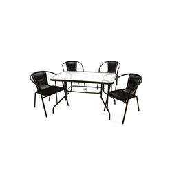 VCM Gartenmöbelset 5 tlg. Gartenset (Stapelstuhl und Tisch)