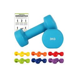 MSports® Hantel Hantelset Neopren 2er Set 0,5 – 5 kg Paar inkl. Übungsposter Kurzhanteln blau