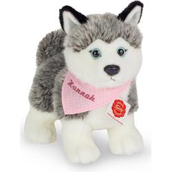 Teddy Hermann® Kuscheltier Husky mit rosa Halstuch, 23 cm, mit individueller Bestickung