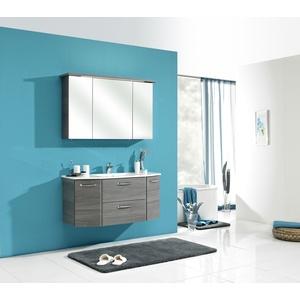Pelipal 328 Alika Komplett-Set Waschtischunterschrank Spiegelschrank Kranzleuchte Mineralmarmorwaschtisch 1150 mm - Graphit Struktur quer - 328.120000