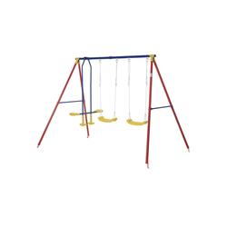 Outsunny Doppelschaukel Kinderschaukel mit 2 Schaukeln und einer Wippe