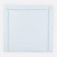 KraftKids Wickelauflage weiße Feder Muster auf Blau, extra Weich (500 g/qm), mit antiallergenem Vlies gefüllt 75 cm x 70 cm