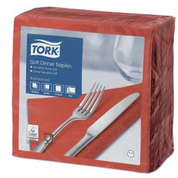 Tork Soft Dinnerservietten, 39 x 39 cm, 3-lagig, 1/4 Falzung, 1 Karton = 12 x 100 Stück = 1200 Stück, Farbe: Terracotta