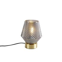 Art Deco Tischlampe Messing mit Rauchglas - Karce