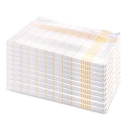 10er Set Geschirrhandtuch aus Halbleinen, kariert, gelb-weiss, 50x70cm (gelb)