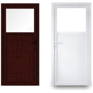 EcoLine Nebentür - Nebeneingangstür - Tür - 2-Fach, 1/3 Glas, 2/3 Füllung, außenöffnend innen: weiß/außen: Mahagoni BxH: 1000 x 2000 mm DIN Links