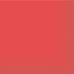 Mank Tissue Basics Servietten, 33 x 33  cm, 1/4 Falz, 3-lagig, 1 Karton = 6 x 100 Stück = 600 Servietten, rot