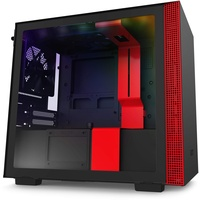 NZXT H210i Tower-Gehäuse schwarz/rot, Tempered Glass
