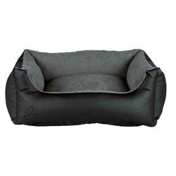 Trixie Hundebett Kunstleder Bino, 80 × 60 cm, schwarz/grau