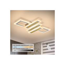 ZMH Deckenleuchte Dimmbar Modern Deckenlampe Geometrisch Wohnzimmerlampe Designlampe mit Fernbedienung, Innen Deckenbeleuchtung für Schlafzimmer Wohnzimmer Esszimmer Arbeitszimmer 40 cm x 60 cm x 6 cm