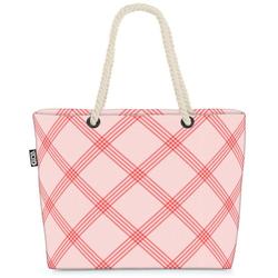 VOID Strandtasche (1-tlg), Rosa Karos Beach Bag Tischdecke Tapete Pink Bayern Biergarten Garten Balkon