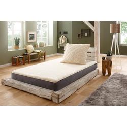 Matratzenauflage Unterbett Lammflor mit Spannauflage, f.a.n. Schlafkomfort, 2,7 cm hoch, Wollmischung, hohe klimaregulierende Wirkung 90 cm x 200 cm x 2,7 cm