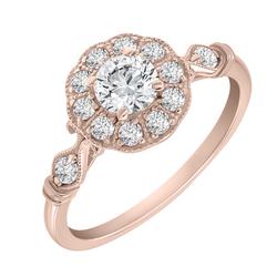 Vintage Verlobungsring aus Gold mit Moissanit und Diamanten Margo