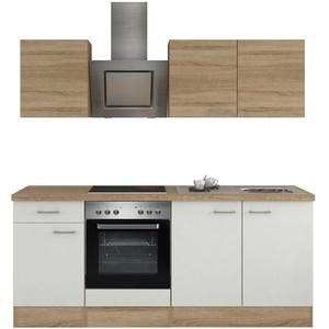 Küchenblock Küchenzeile Einbauküche mit Elektrogeräten E Geräte Küche 210cm weiß