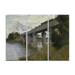 Bilderdepot24 Leinwandbild, Die Eisenbahnbrücke von Argenteuil bunt 120 cm x 80 cm