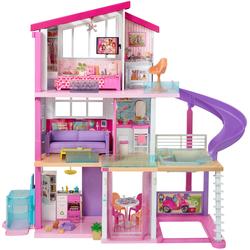 Barbie Puppenhaus Traumvilla mit Pool, Rutsche und Aufzug, Licht- Soundeffekten rosa Kinder Puppenzubehör Puppen