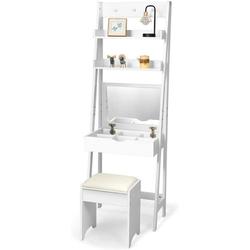 COSTWAY Schminktisch Frisierkommode Schminkkommode Kosmetiktisch weiß 40 cm x 180 cm x 60 cm