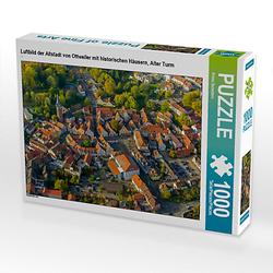 Luftbild der Altstadt von Ottweiler mit historischen Häusern, Alter Turm Lege-Größe 64 x 48 cm Foto-Puzzle Bild von Prime Selection Kalender Puzzle