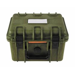 BigDean Werkzeugbox Aufbewahrungsbox Kunststoff Oliv grün wasserdicht robust Militärkiste Militärbox Armee Kiste 26,7x23,9x17,6cm