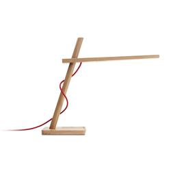 Clamp Mini Tischleuchte, Eiche, Kabel rot