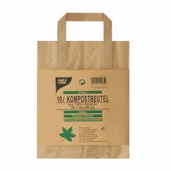 Kompostbeutel aus Papier mit Henkel 10L 28 cm x 22 cm x 14 cm braun, 15 Stk.