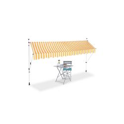 relaxdays Klemmmarkise Klemmmarkise gelb weiß 350 cm x 120 cm x 300 cm
