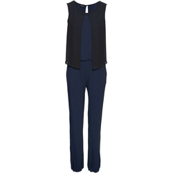 bonprix Jumpsuit Eleganter Jersey-Jumpsuit mit Chiffon-Überwurf (1-tlg) blau 40/42