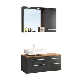 Badezimmer Waschplatz mit beleuchtetem Badspiegel dunkel Grau (dreiteilig)