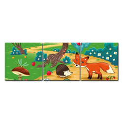 Bilderdepot24 Leinwandbild, Leinwandbild - Kinderbild - Tiere im Wald 180 cm x 60 cm