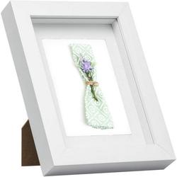 Woltu Bilderrahmen, Bilderrahmen mit Papier-Passepartout weiß 30 cm x 30 cm
