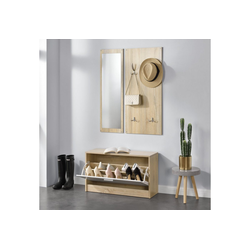 en.casa Schuhschrank Artern Garderobe mit Schuhschrank und Spiegel