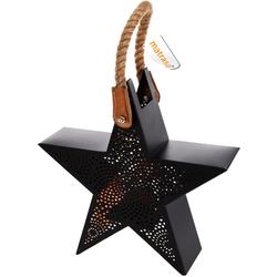 Windlicht STAR aus Metall in Sternform - Teelicht Lampe - Weihnachtsdeko - 23 cm
